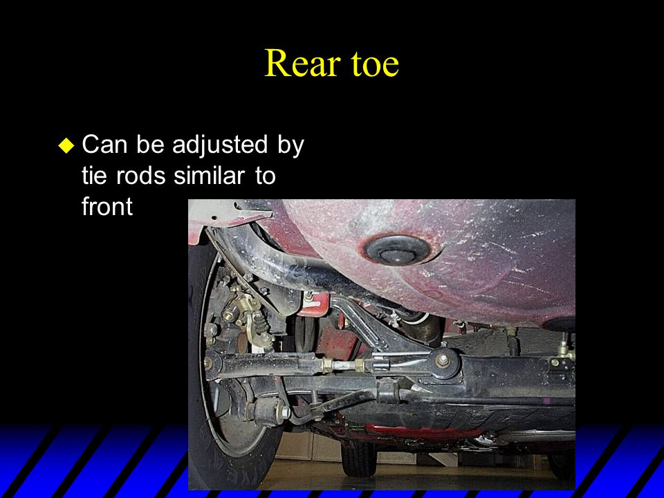 Rear toe Can be adjusted by tie rods similar to front