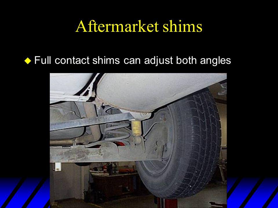 Aftermarket shims Full contact shims can adjust both angles