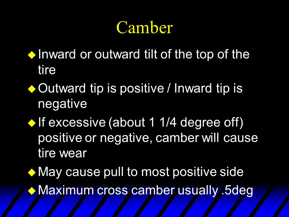 Camber Inward or outward tilt of the top of the tire