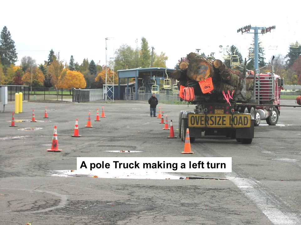 A pole Truck making a left turn