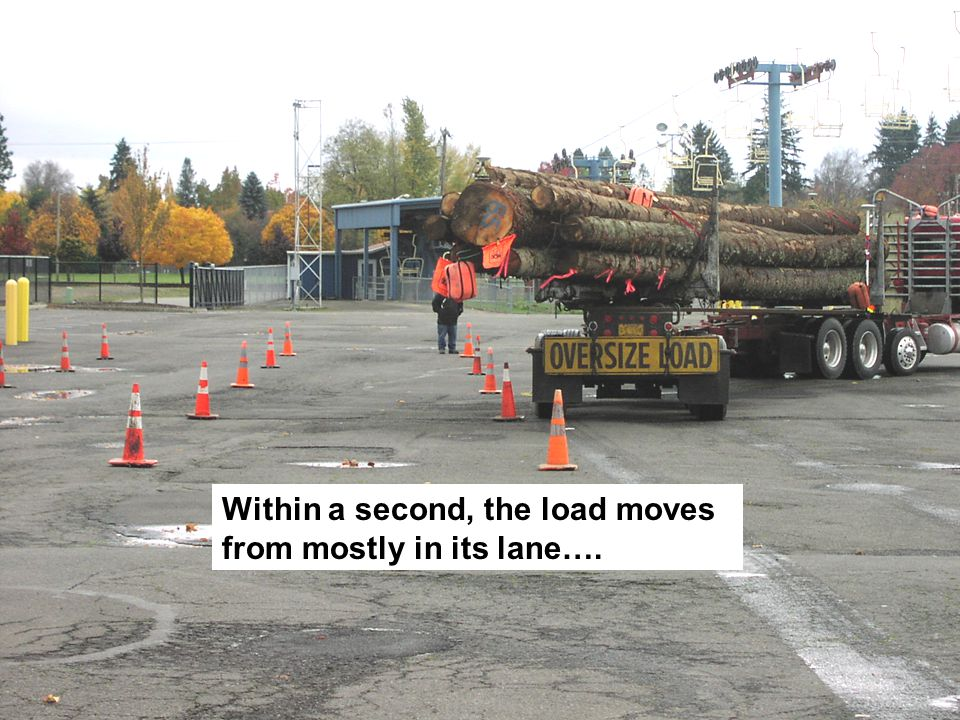 Within a second, the load moves from mostly in its lane….