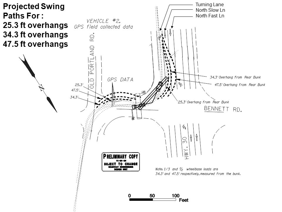 Projected Swing Paths For : 25.3 ft overhangs 34.3 ft overhangs