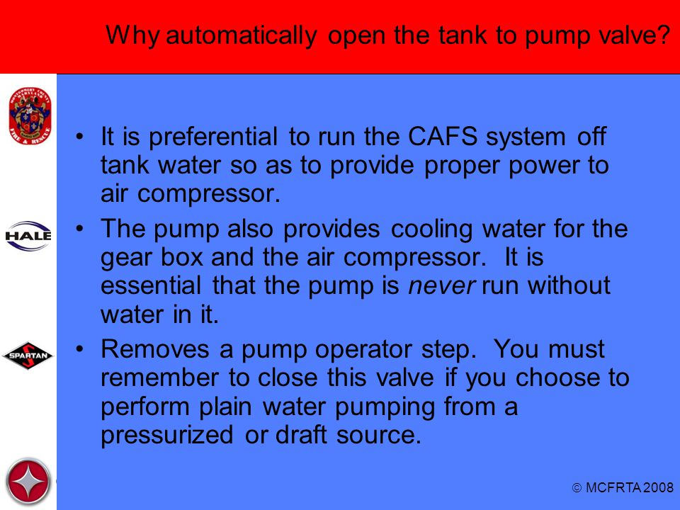 Why automatically open the tank to pump valve