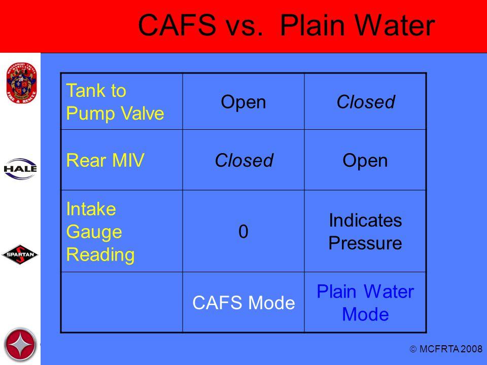 CAFS vs. Plain Water Tank to Pump Valve Open Closed Rear MIV