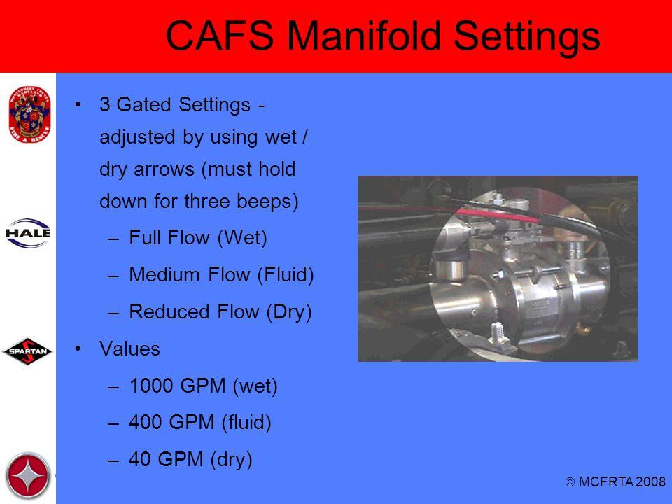 CAFS Manifold Settings