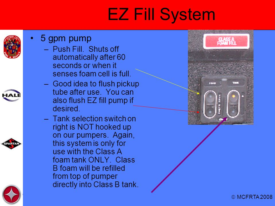 EZ Fill System 5 gpm pump. Push Fill. Shuts off automatically after 60 seconds or when it senses foam cell is full.
