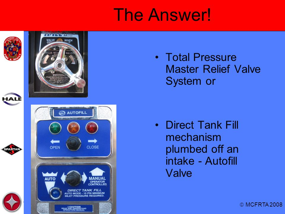 The Answer! Total Pressure Master Relief Valve System or