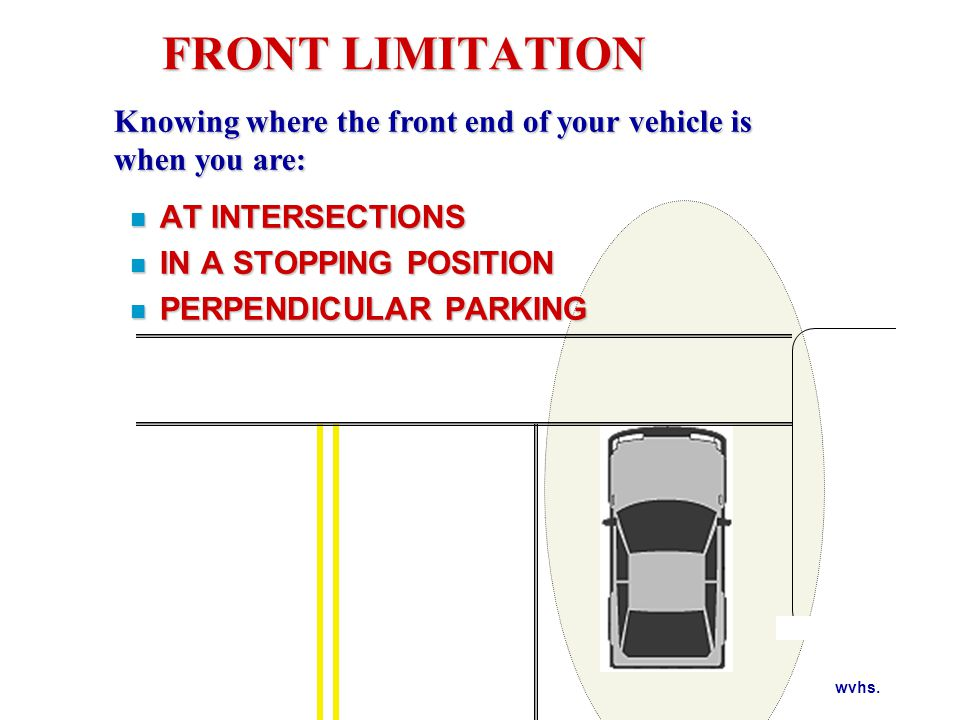 FRONT LIMITATION WHERE ARE YOUR VISUAL REFERENCE POINTS FOR FRONT LIMITATION
