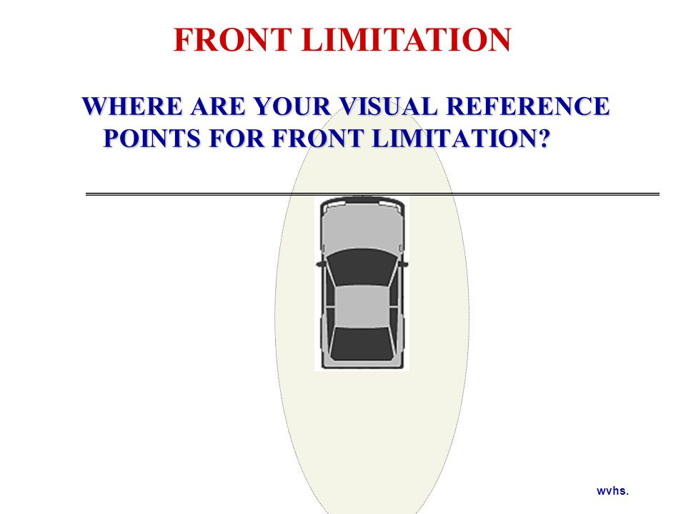 FRONT LIMITATION Target the line to the side of the vehicle and look from the line under the side view mirrors to the curb.