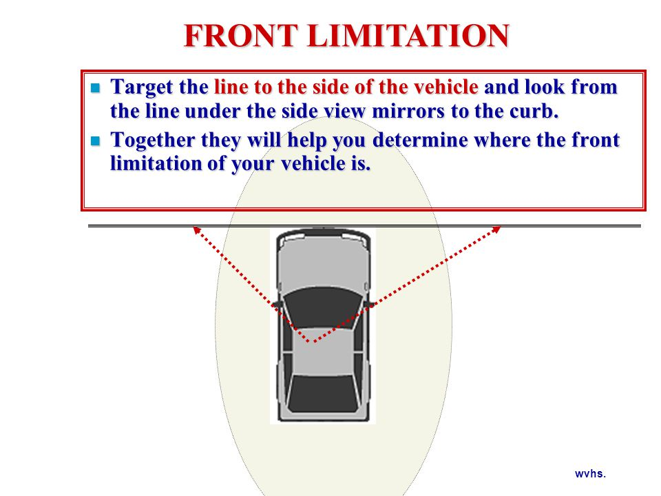 REAR LIMITATION BACKING POSITION PERPENDICULAR PARKING