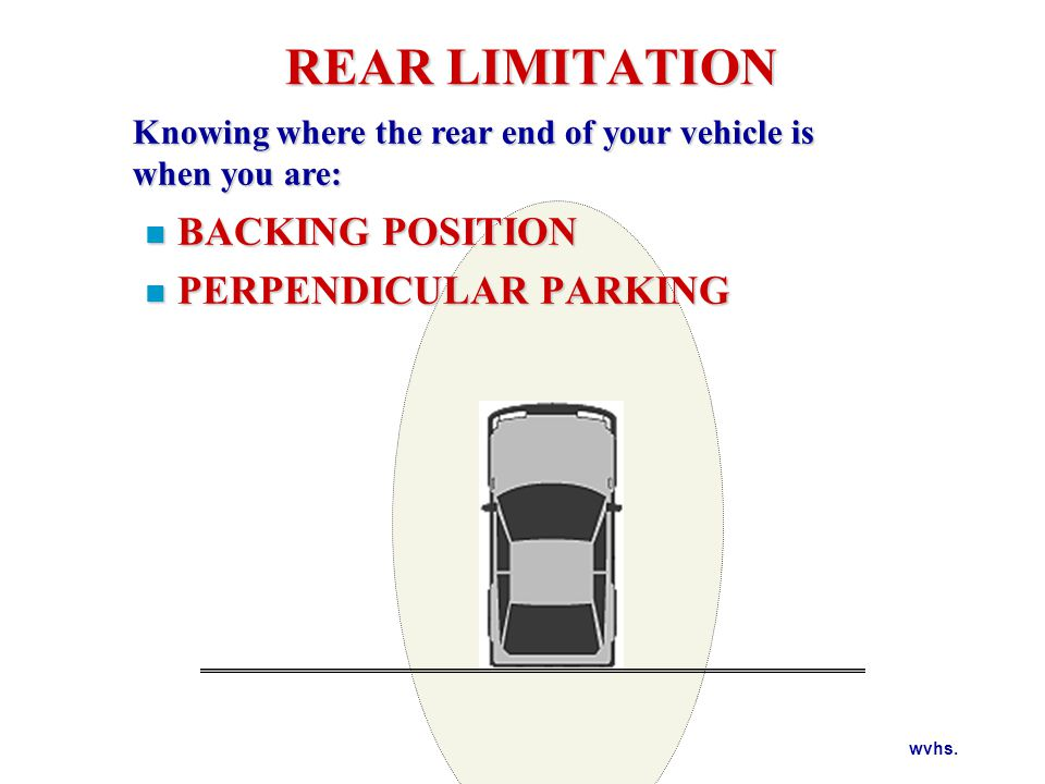 REAR LIMITATION WHERE ARE YOUR VISUAL REFERENCE POINTS FOR REAR LIMITATION