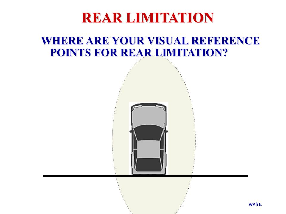 REAR LIMITATION Target the line to either side of the vehicle and look from the line through the windows to the left and right rear.