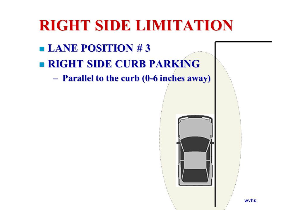 RIGHT SIDE LIMITATION Your line of sight reference is aligning the middle of your vehicle to the curb or the edge line of roadway.