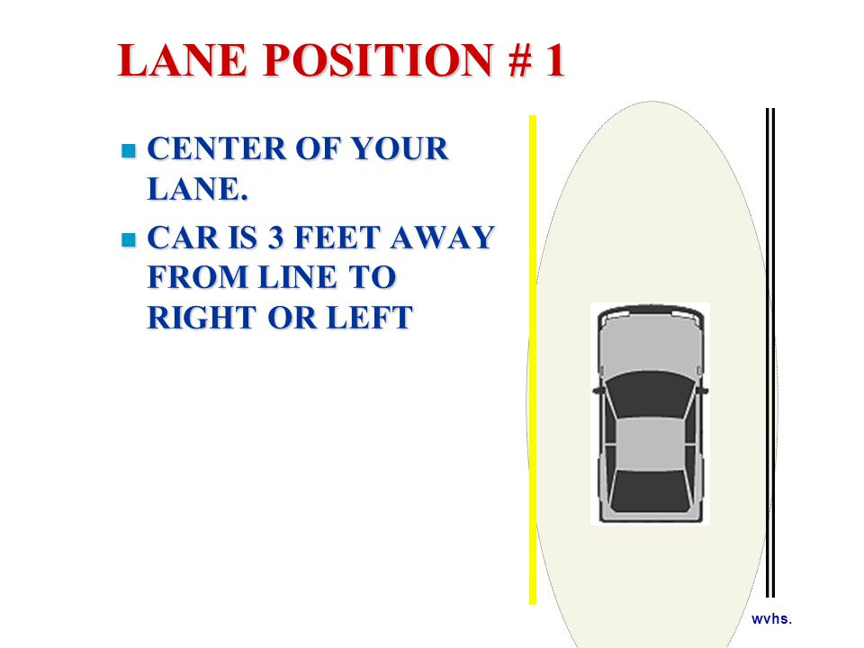 LANE POSITION # 1 Your line of sight through the driver's side left fender to the center line.
