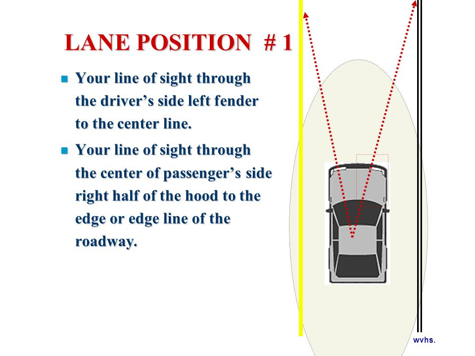 LANE POSITION # 2 LEFT SIDE OF YOUR LANE.