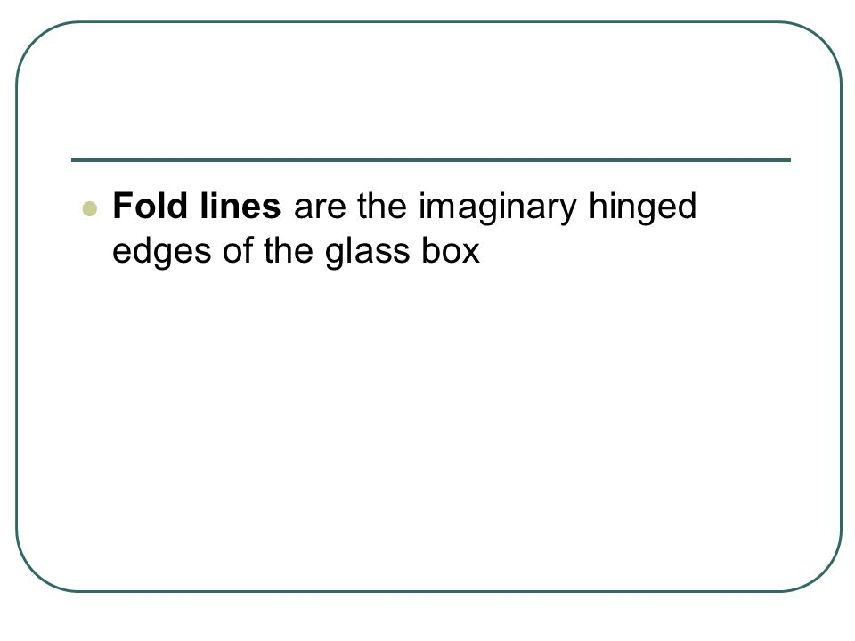 Fold lines are the imaginary hinged edges of the glass box