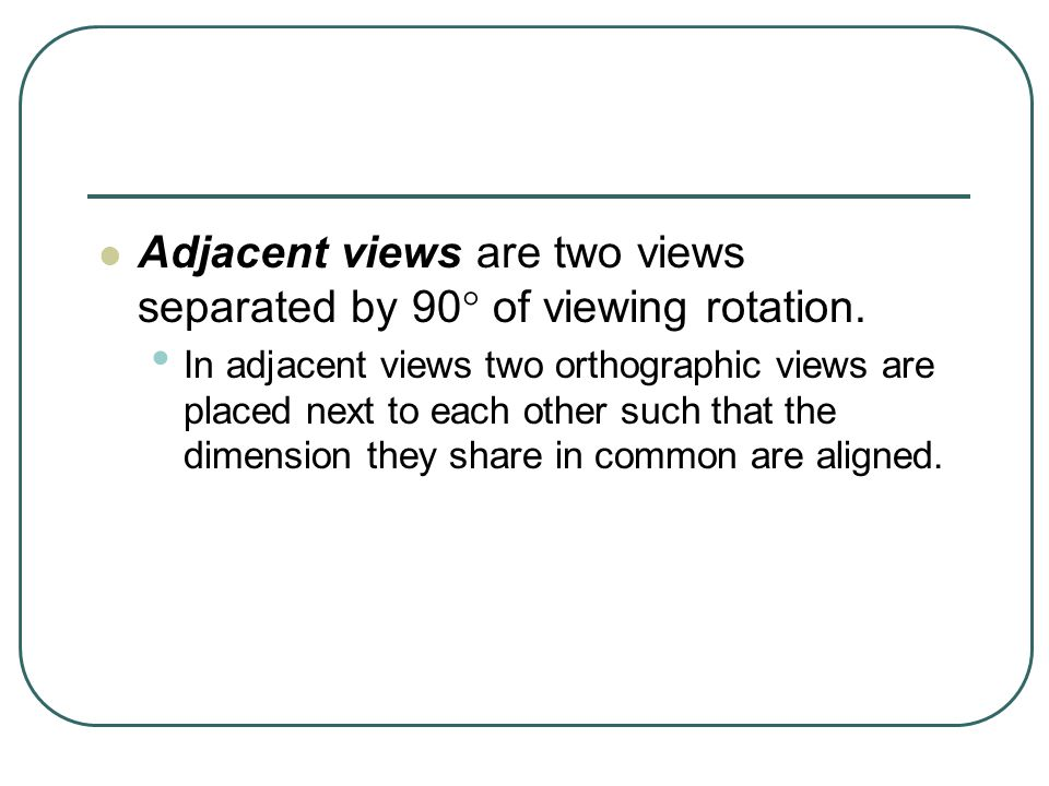 Adjacent views are two views separated by 90 of viewing rotation.