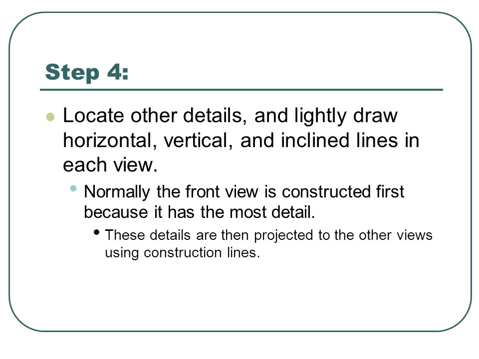 Step 4: Locate other details, and lightly draw horizontal, vertical, and inclined lines in each view.