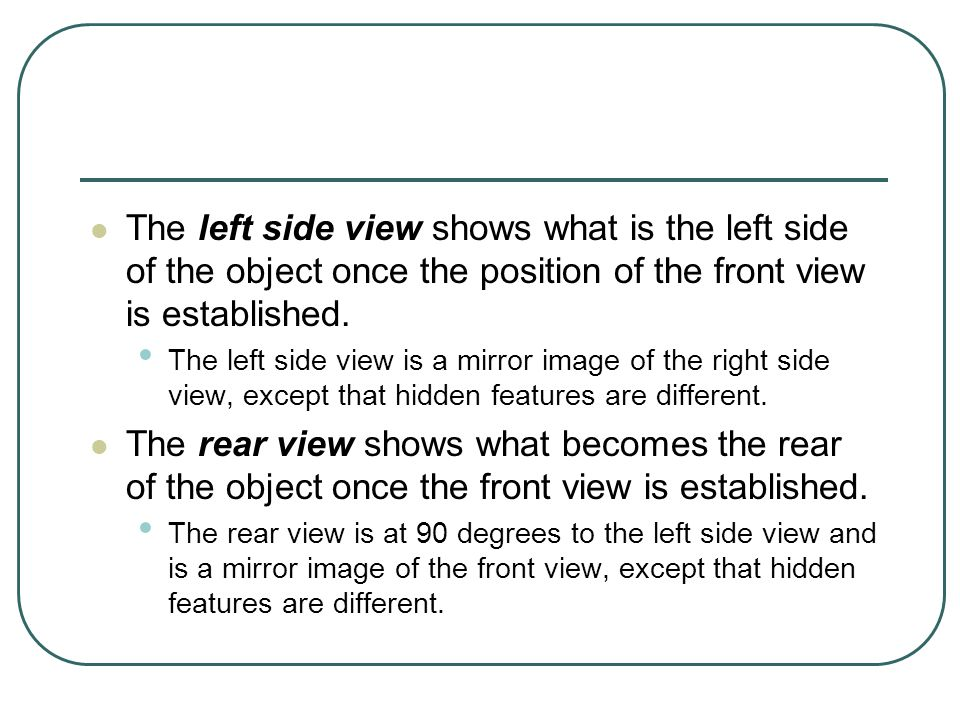 The left side view shows what is the left side of the object once the position of the front view is established.