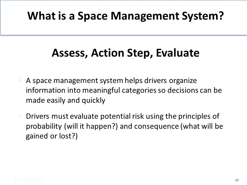 What is a Space Management System Assess, Action Step, Evaluate