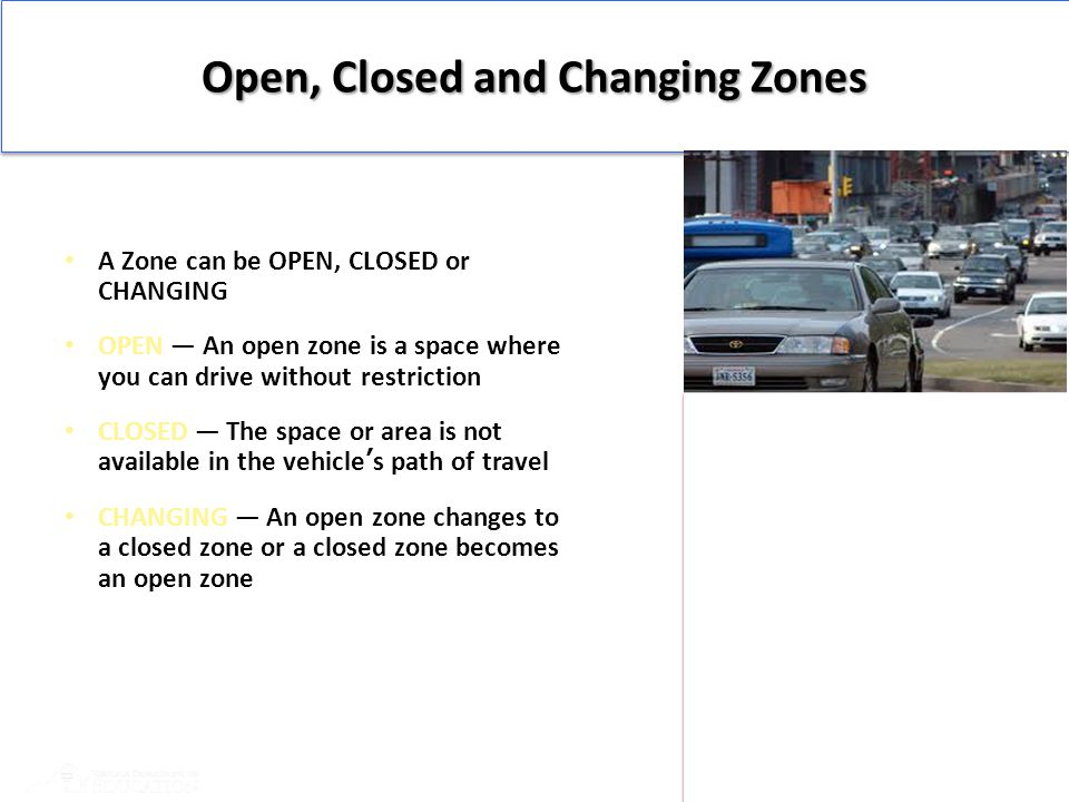 Open, Closed and Changing Zones