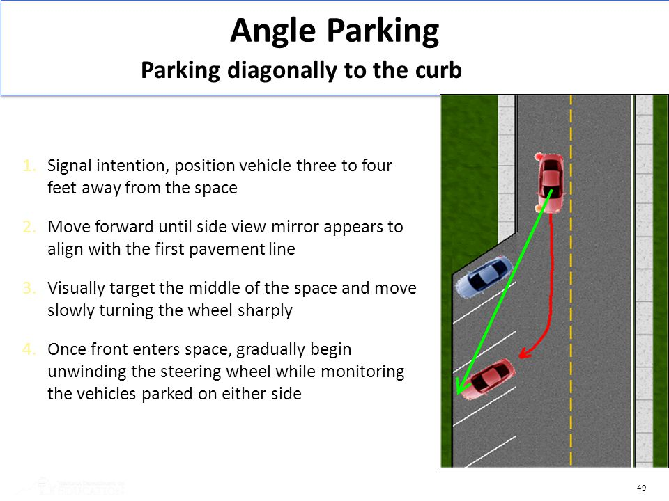 Angle Parking Parking diagonally to the curb