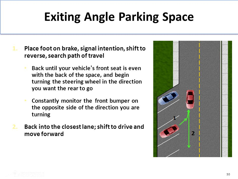 Exiting Angle Parking Space