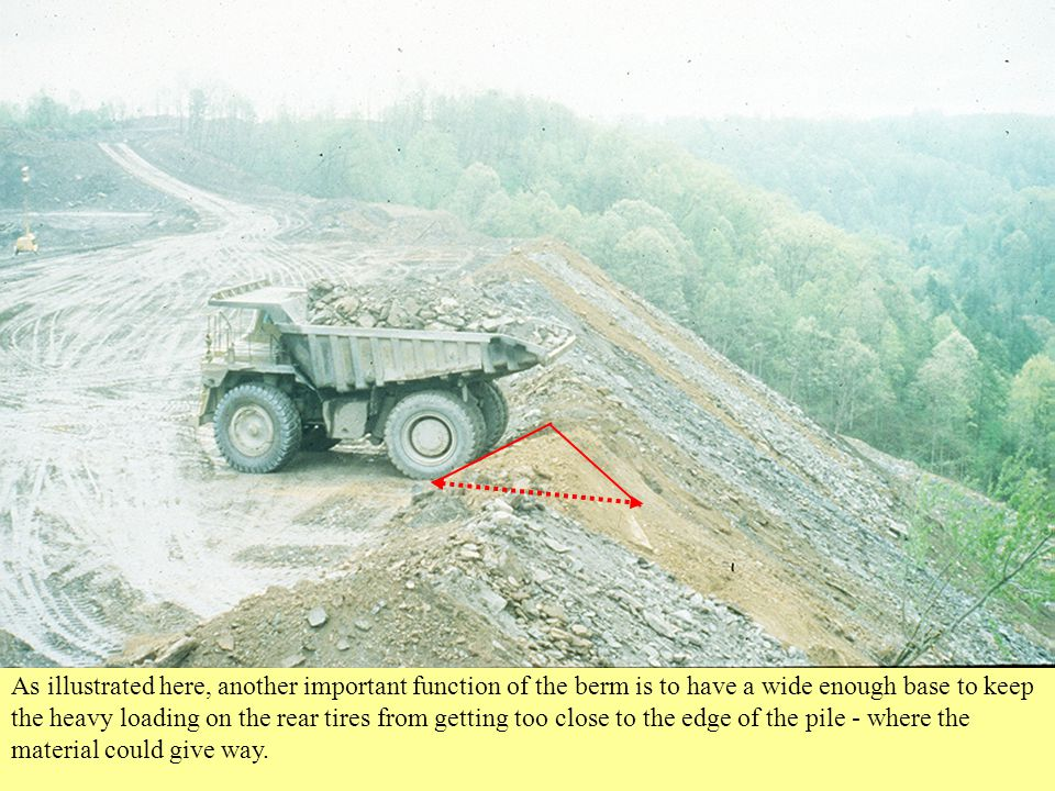 As illustrated here, another important function of the berm is to have a wide enough base to keep the heavy loading on the rear tires from getting too close to the edge of the pile - where the material could give way.