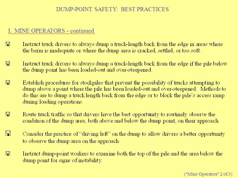 DUMP-POINT SAFETY: BEST PRACTICES