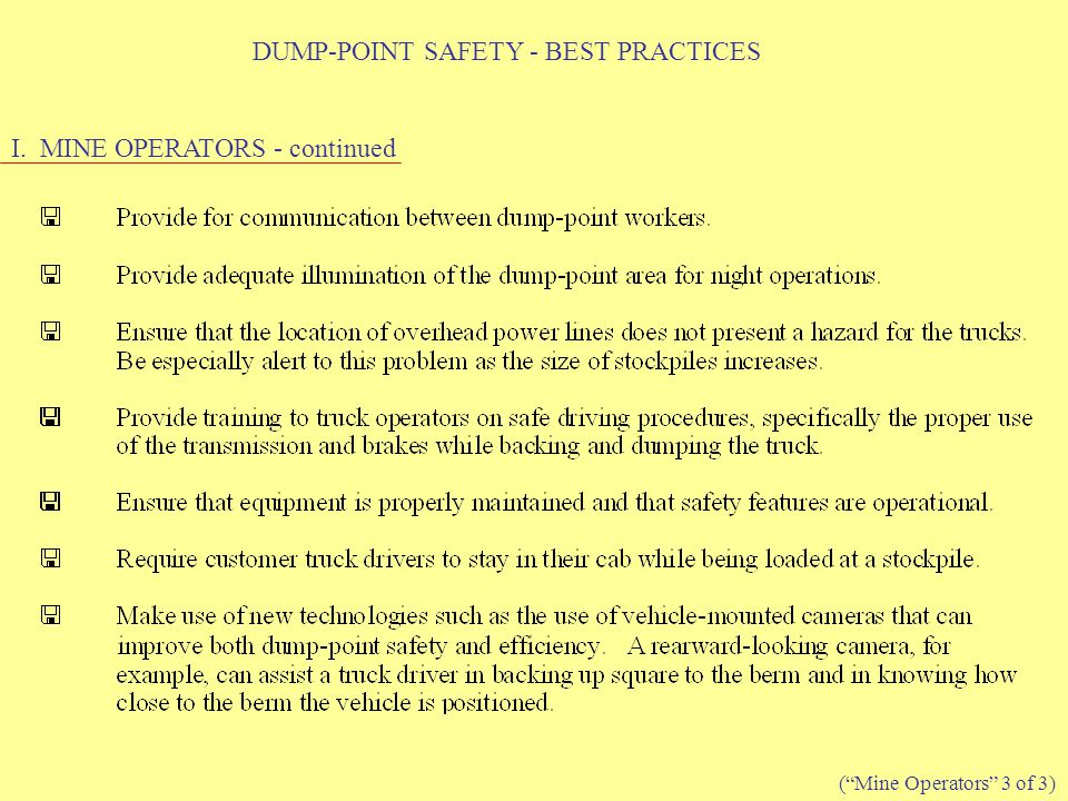DUMP-POINT SAFETY - BEST PRACTICES