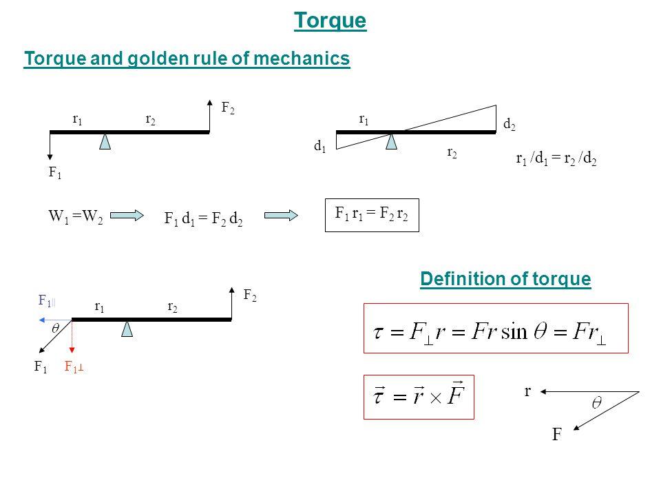 Torque Torque and golden rule of mechanics Definition of torque r F