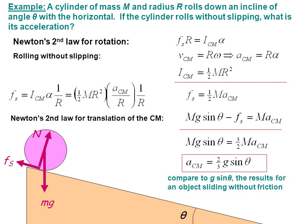 Example: A cylinder of mass M and radius R rolls down an incline of angle θ with the horizontal. If the cylinder rolls without slipping, what is its acceleration