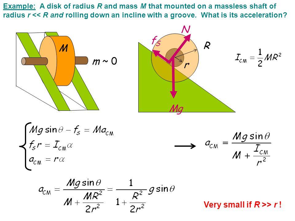 N fS R M m ~ 0 r Mg Very small if R >> r !