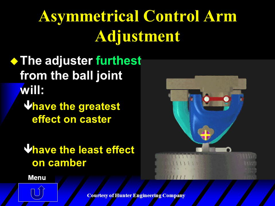 Asymmetrical Control Arm Adjustment