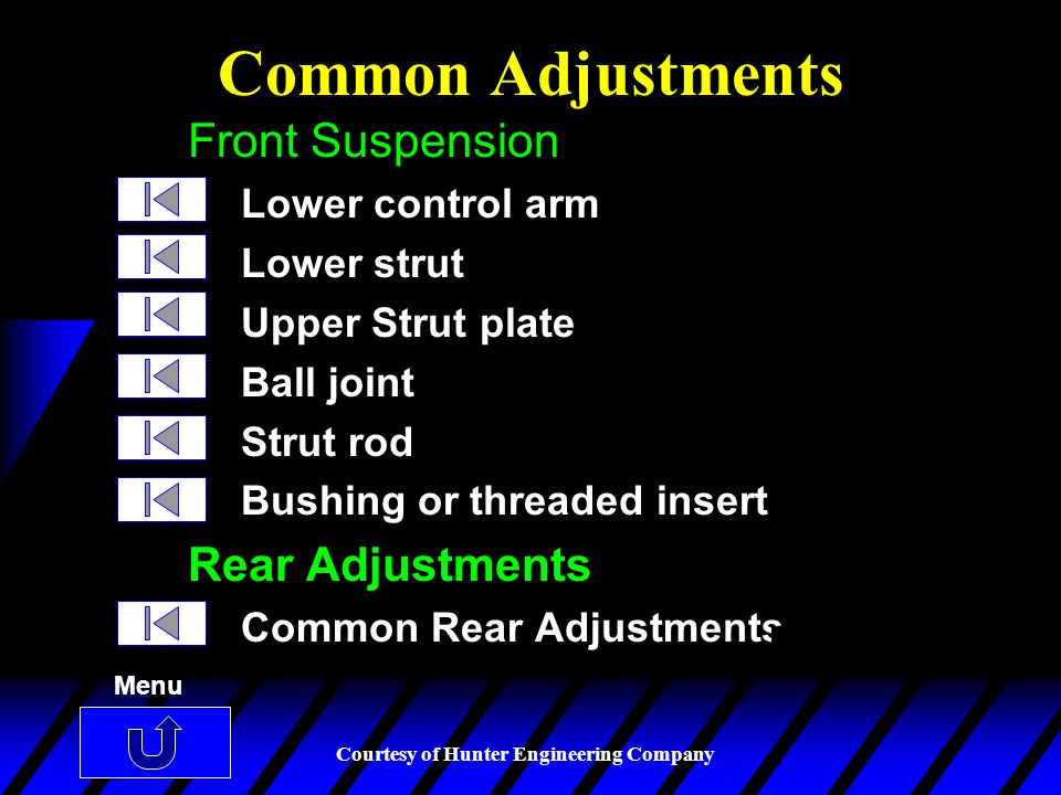 Common Adjustments Front Suspension Rear Adjustments Lower control arm