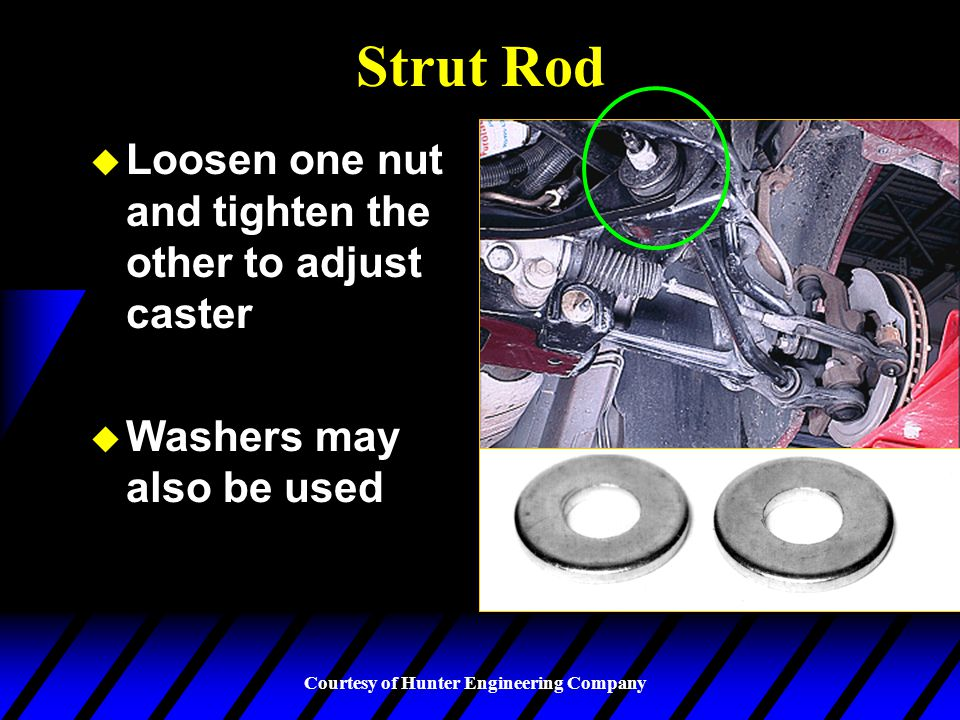 Strut Rod Loosen one nut and tighten the other to adjust caster