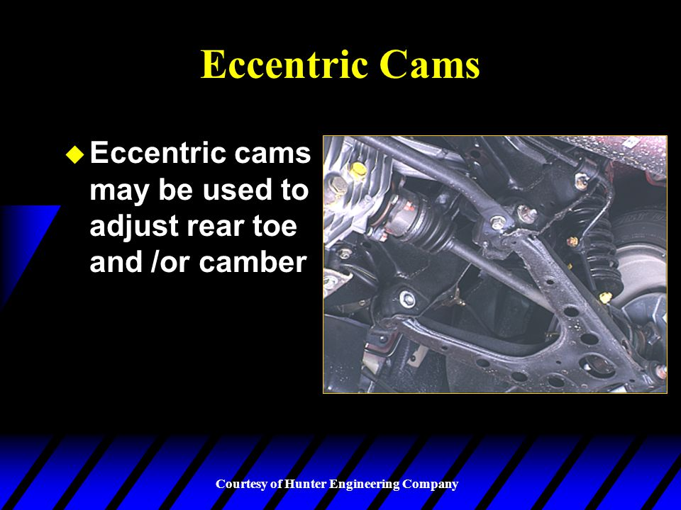 Eccentric Cams Eccentric cams may be used to adjust rear toe and /or camber