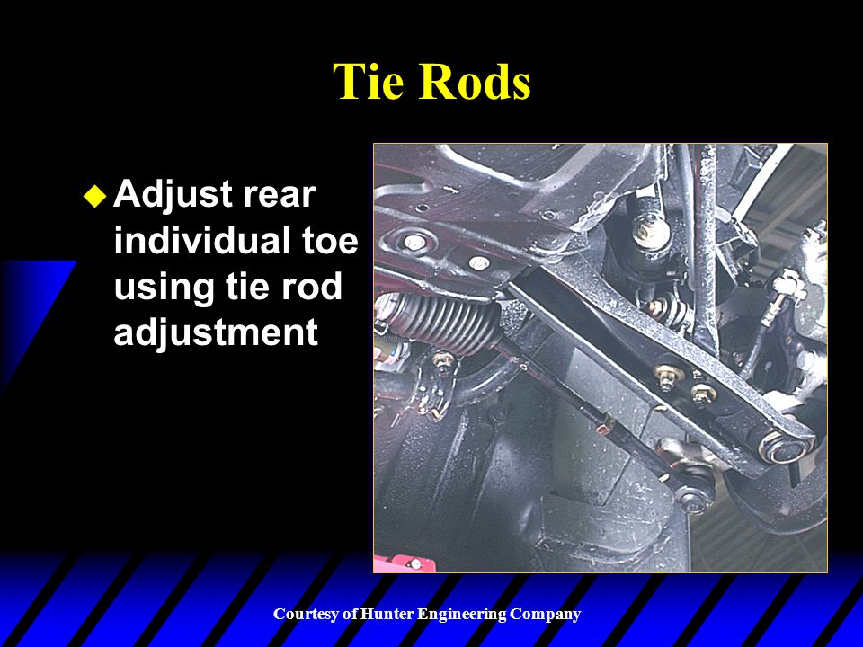 Tie Rods Adjust rear individual toe using tie rod adjustment