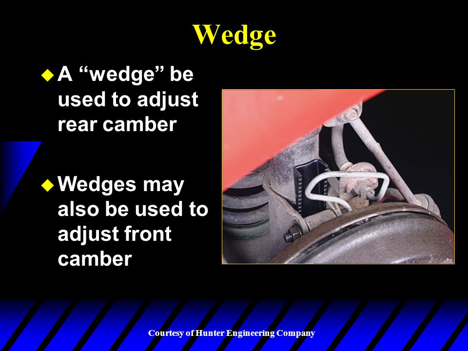 Wedge A wedge be used to adjust rear camber