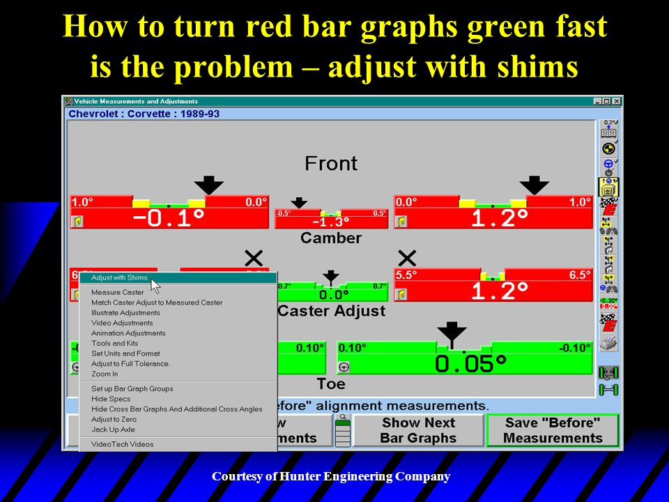 How to turn red bar graphs green fast is the problem – adjust with shims