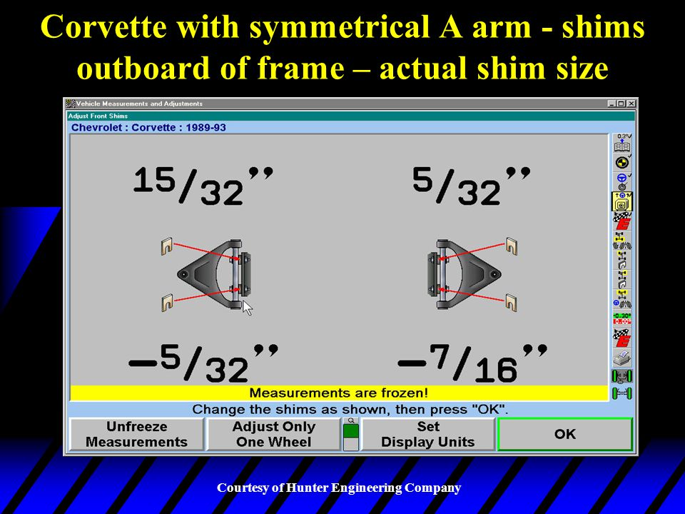 Corvette with symmetrical A arm - shims outboard of frame – actual shim size