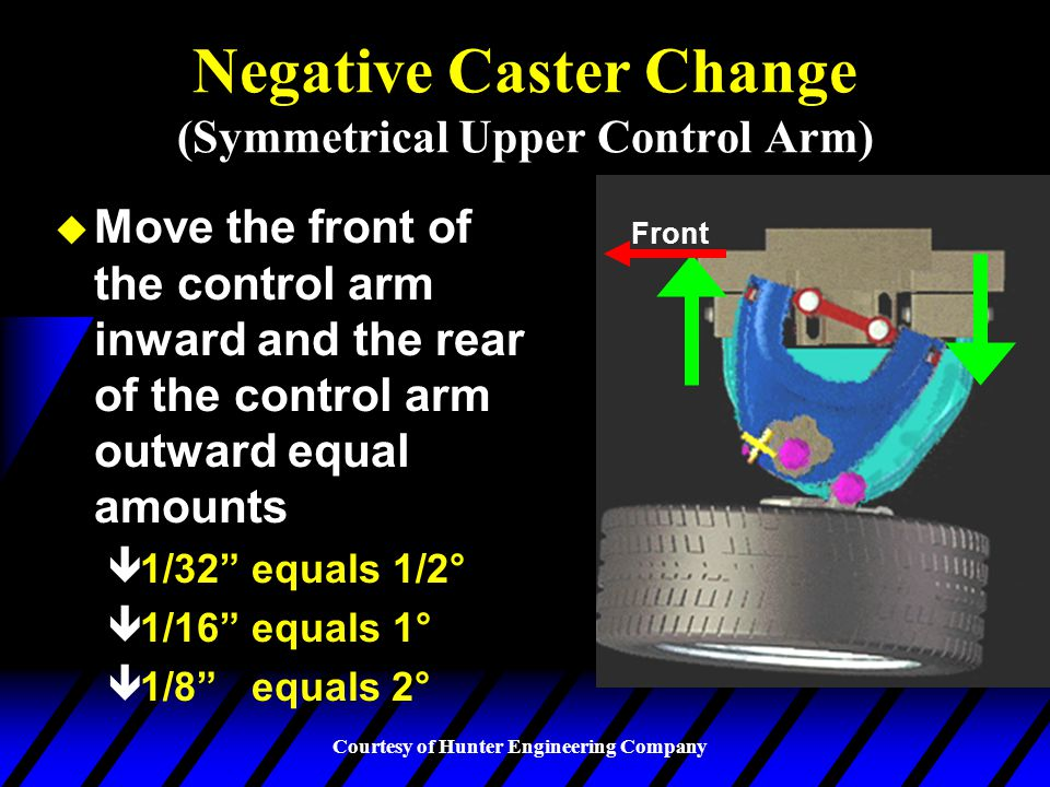 Negative Caster Change (Symmetrical Upper Control Arm)