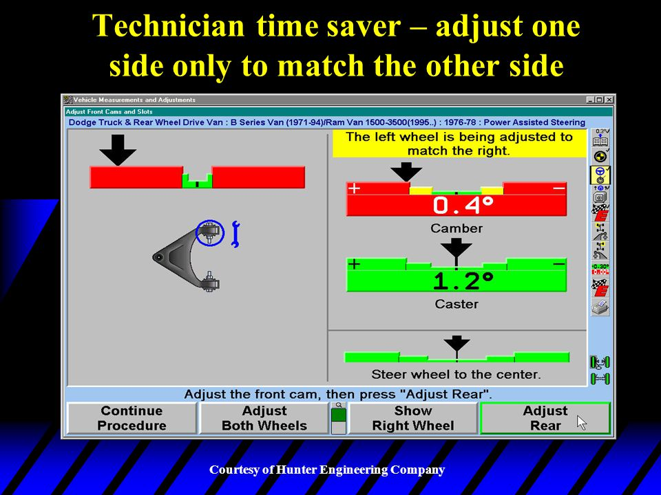 Technician time saver – adjust one side only to match the other side