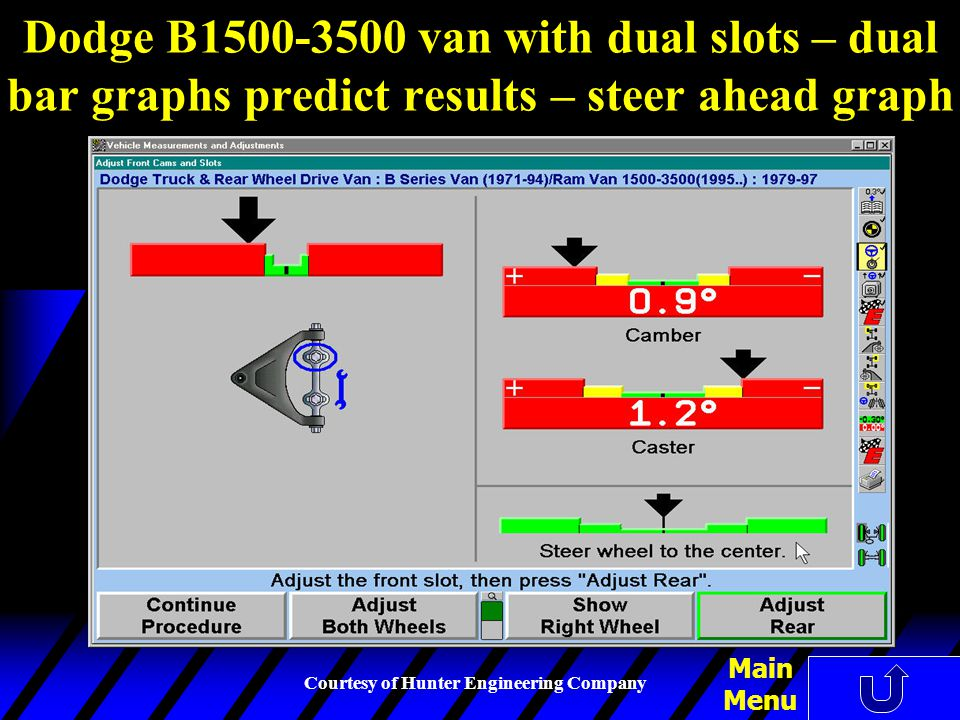 Dodge B1500-3500 van with dual slots – dual bar graphs predict results – steer ahead graph