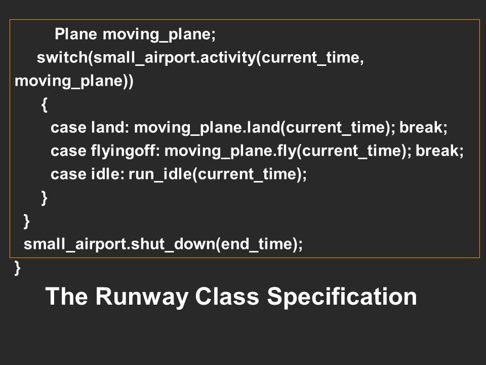 The Runway Class Specification
