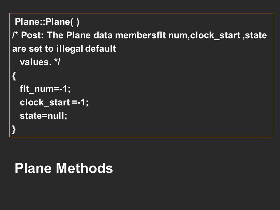Plane Methods Plane::Plane( )
