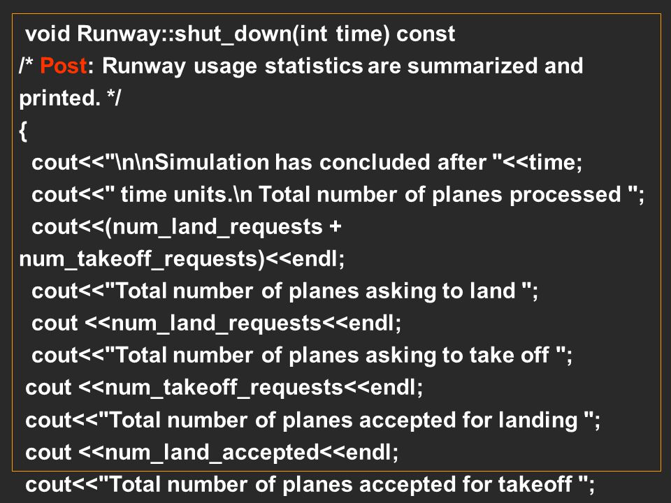 void Runway::shut_down(int time) const