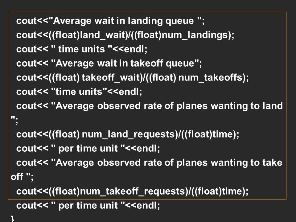 cout<< Average wait in landing queue ;
