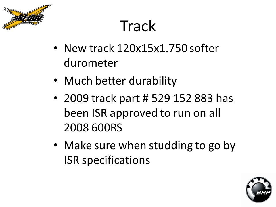 Track New track 120x15x1.750 softer durometer Much better durability