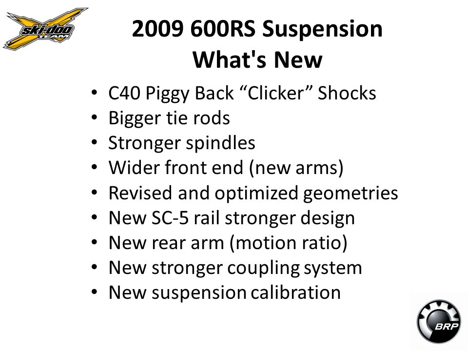 2009 600RS Suspension What s New